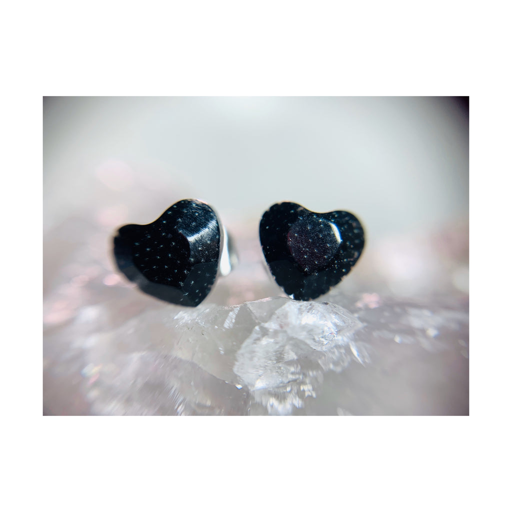 Black Faceted Mini Heart Studs