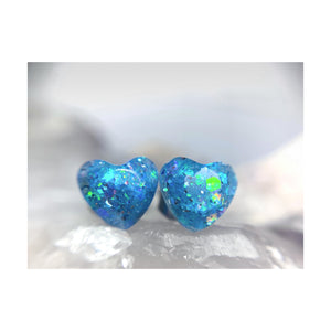 Cold Hearted Blue Heart Studs