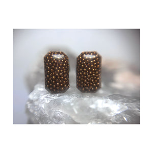 Brown Mini Faceted Rectangle Studs