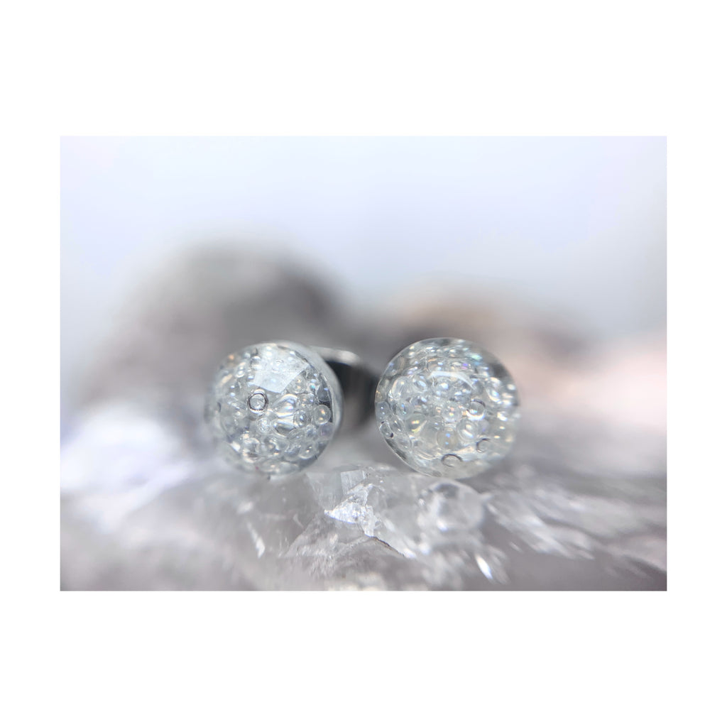 Clear Faceted Mini Circle Studs