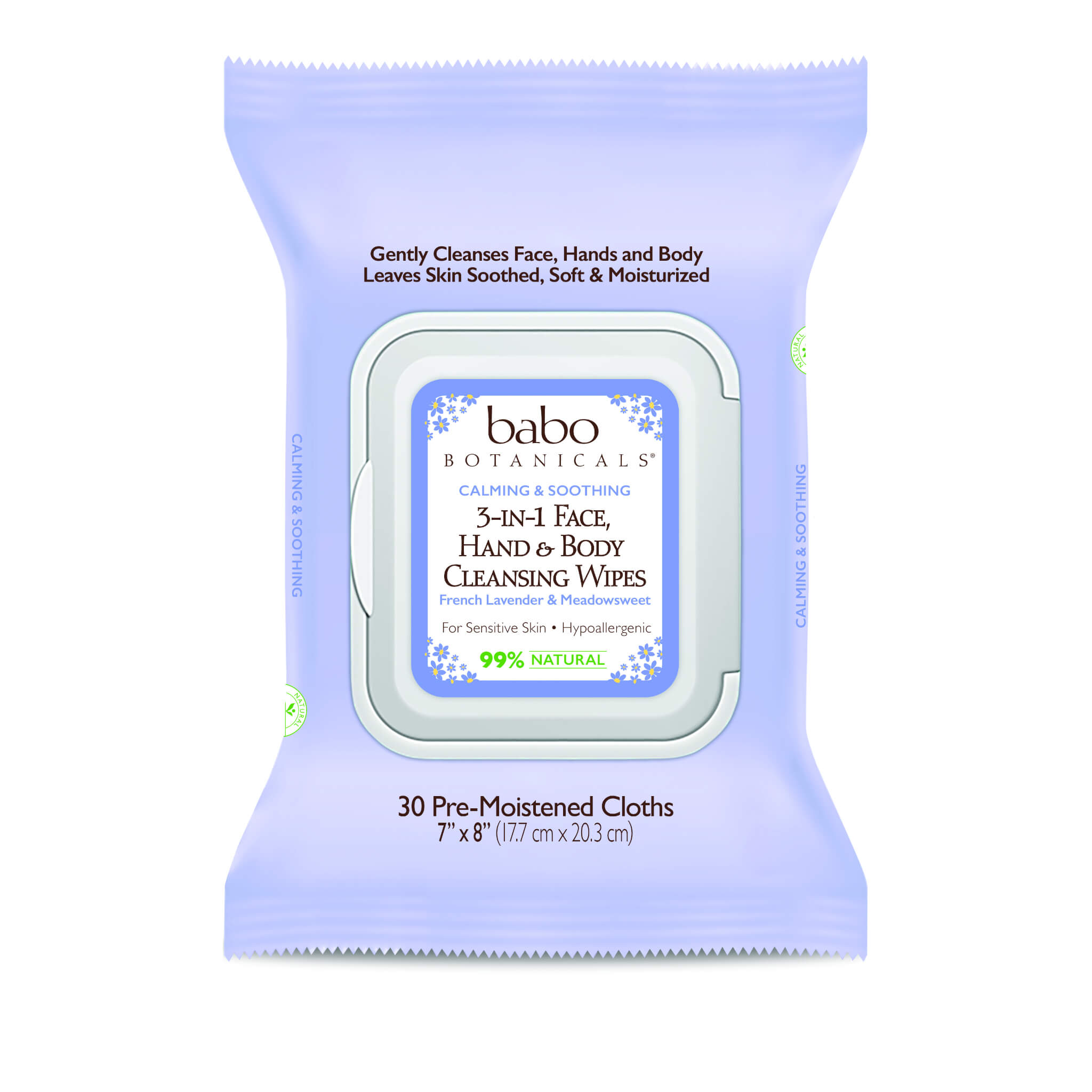 Babo Botanicals - 3-in-1 Calming Face, Hands & Body Wipes - Lavender & Meadowsweet (Qty. 30)