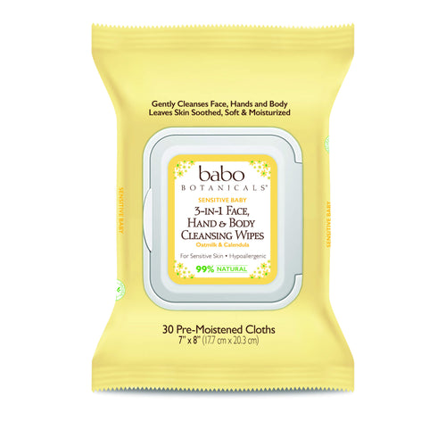 Babo Botanicals - 3-in-1 Sensitive Baby Face, Hands & Body Wipes - Oatmilk & Calendula (Qty. 30)