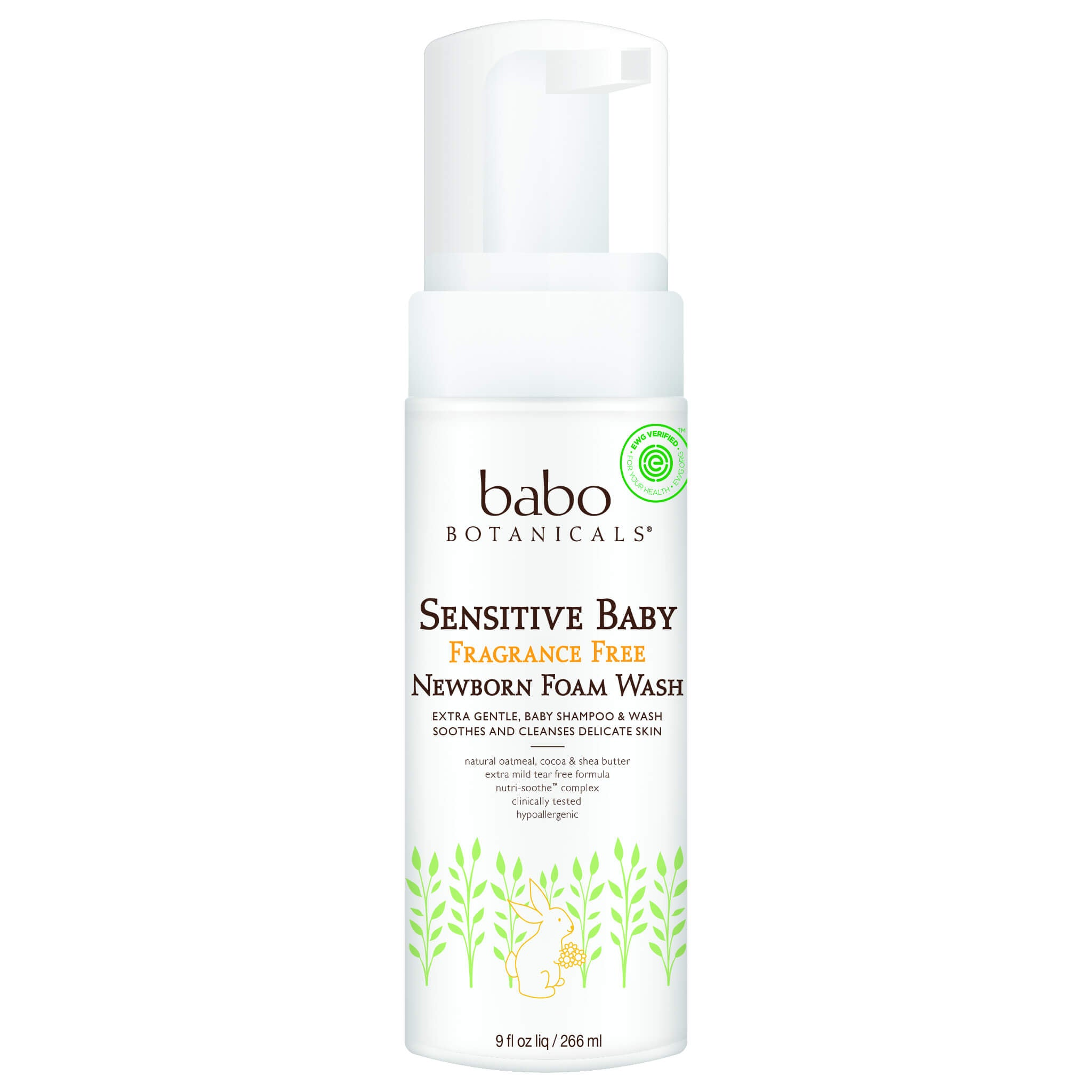 Babo Botanicals - Sensitive Newborn Foam Baby Wash - Fragrance Free (9 oz)