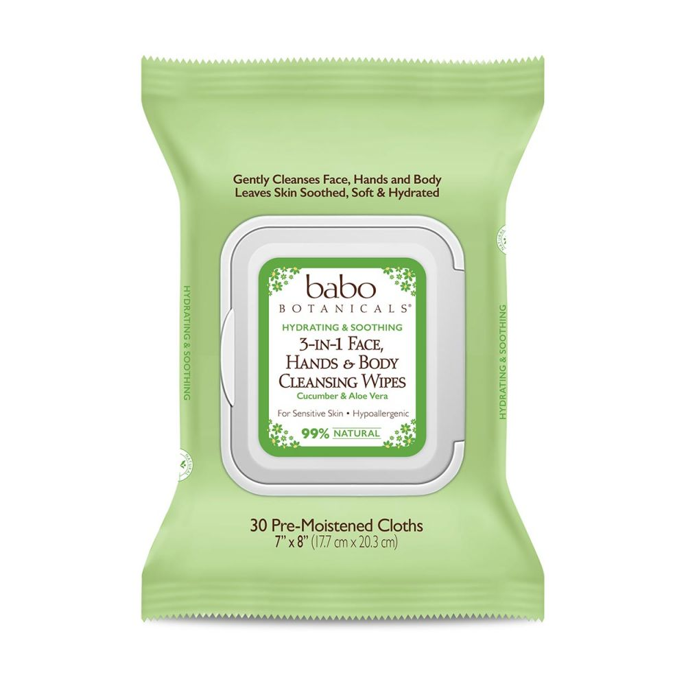 Babo Botanicals - 3-in-1 Calming Face, Hands & Body Wipes - Cucumber & Aloe Vera (Qty. 30)