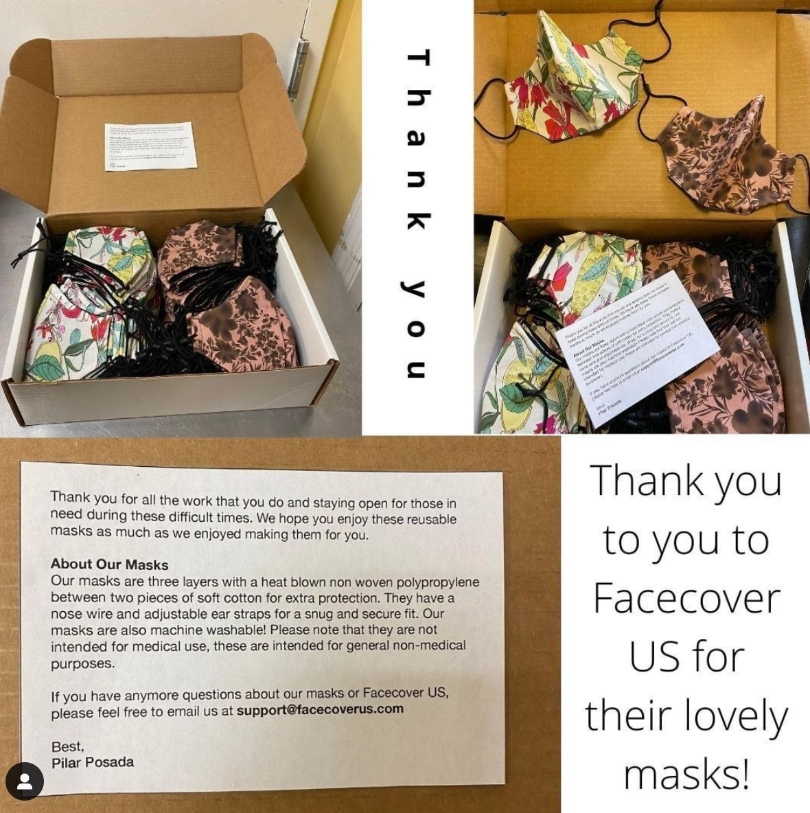 Image of boxes of donation masks and a thank you note sent to people