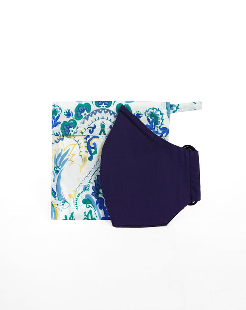 Blue Floral pouch with white background  and blue mask leaning against it..