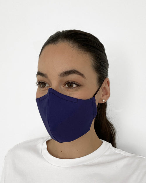 Women wearing Classic Blue Mask. Classic blue color mask.