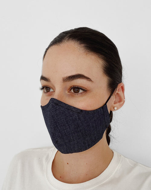 Women wearing Denim Mask. Dark denim color mask