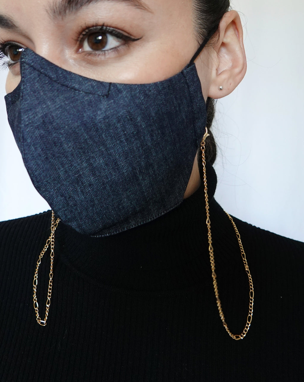 Woman in denim mask wearing Figaro Chain