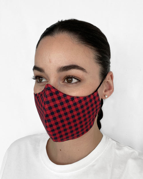 Women wearing black and red plaid face cover.