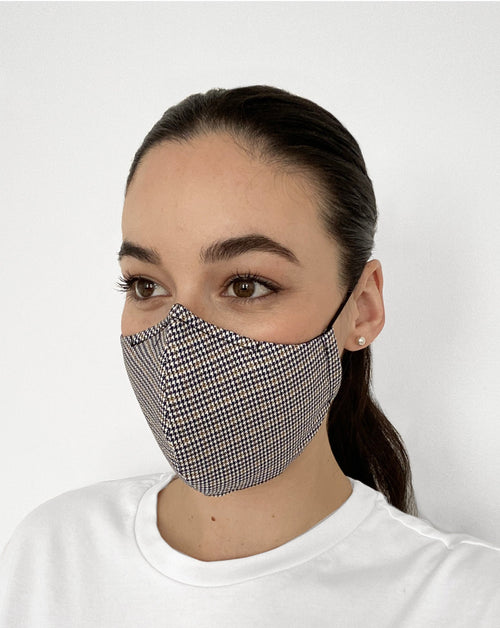 Women wearing Houndstooth Mask. Houndstooth pattern mask.