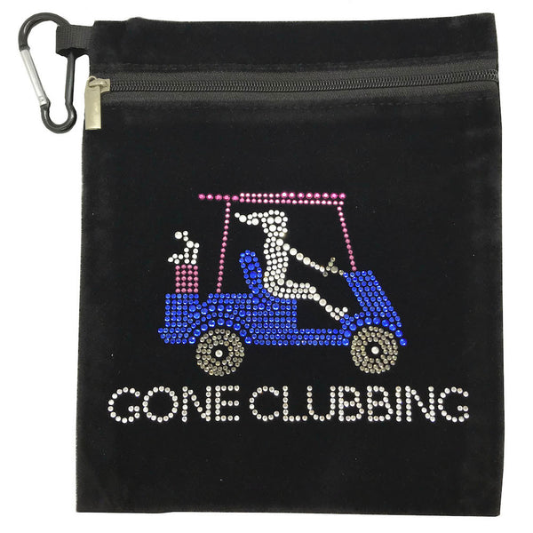gone clubbing (golf cart) clip on bling golf accessory bag