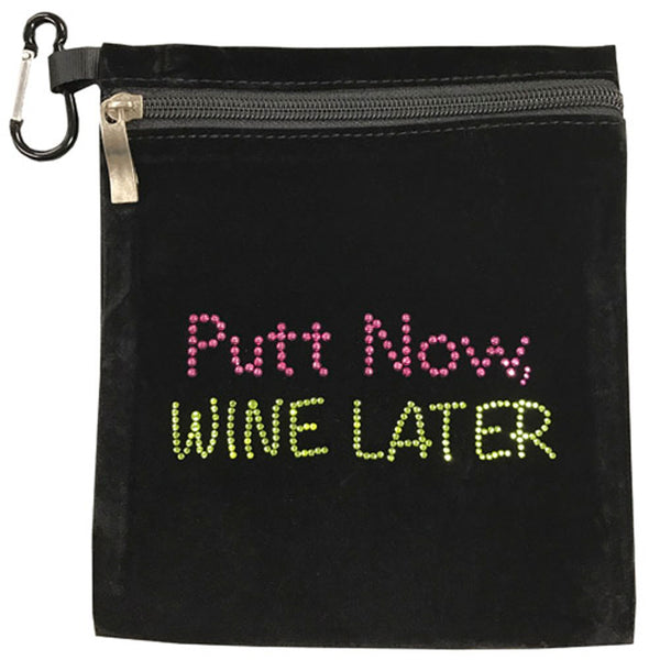 putt now, wine later clip on bling golf accessory bag