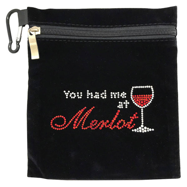 you had me at merlot clip on bling golf accessory bag