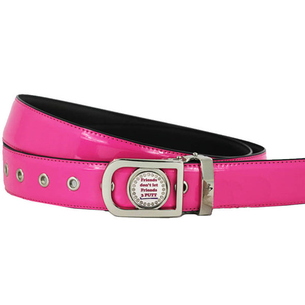 women's golf belt (pink) with a bling friends don't let friends 3 putt golf ball marker