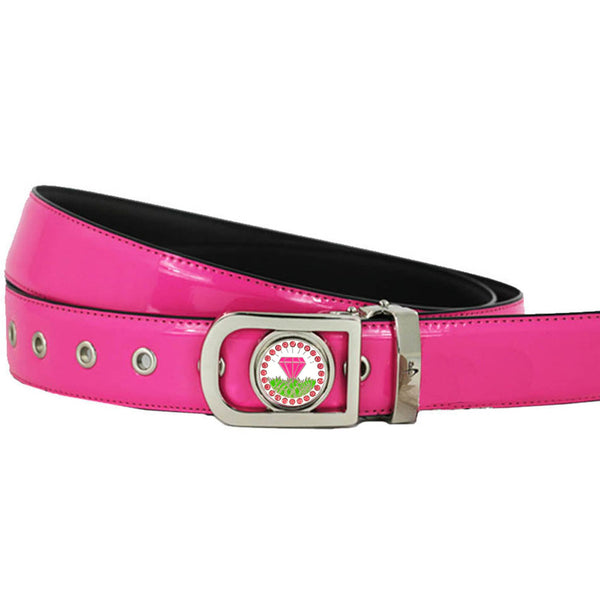 women's golf belt (pink) with a bling pink diamond in the rough golf ball marker