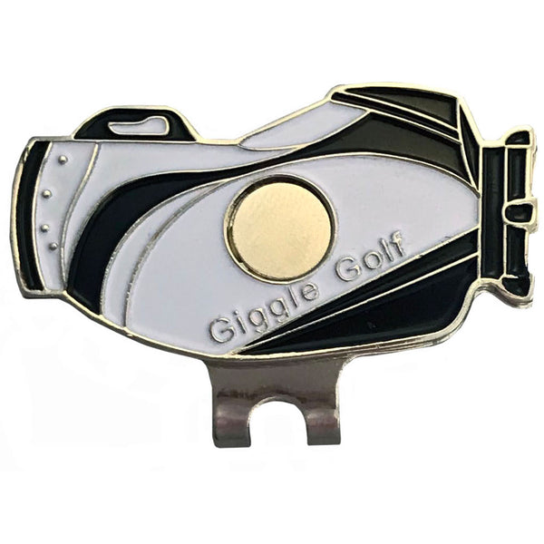giggle golf black and white, magnetic golf bag shaped hat clip