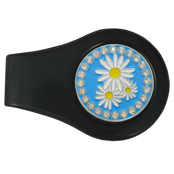 bling daisies golf ball marker with magnetic black clip