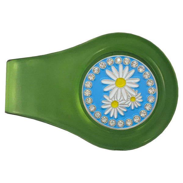 bling daisies golf ball marker with magnetic green clip