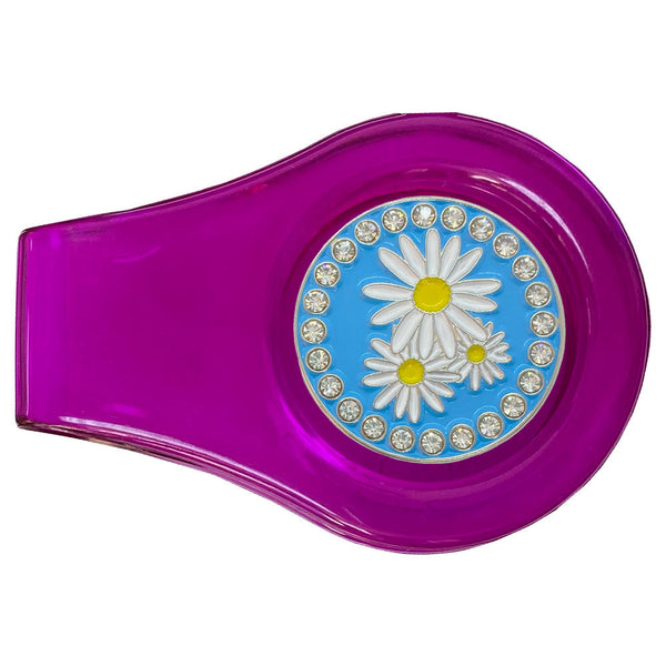 bling daisies golf ball marker with magnetic purple clip
