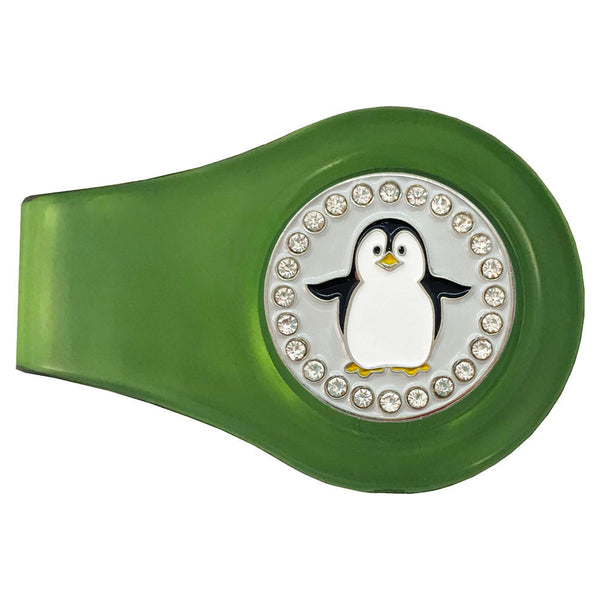 bling black and white penguin golf ball marker with a magentic green clip