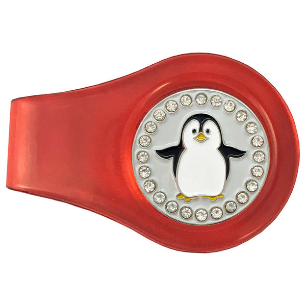 bling black and white penguin golf ball marker with a magentic red clip