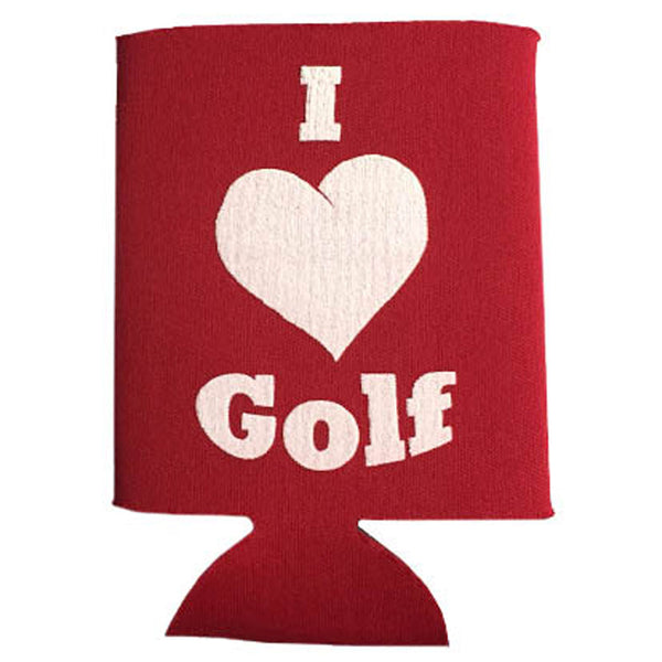 i love golf red foam can cooler sleeve