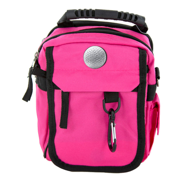 hot pink custom urban day pack with custom golf ball medallion