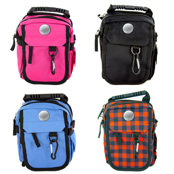 custom urban day pack four color options (pink, black, blue, and red/black plaid)