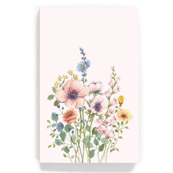 light pink notebook with flower design