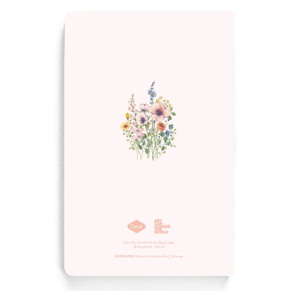 light pink notebook with flower design on the back too