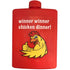 winner winner chicken dinner red plastic golfing hip flask
