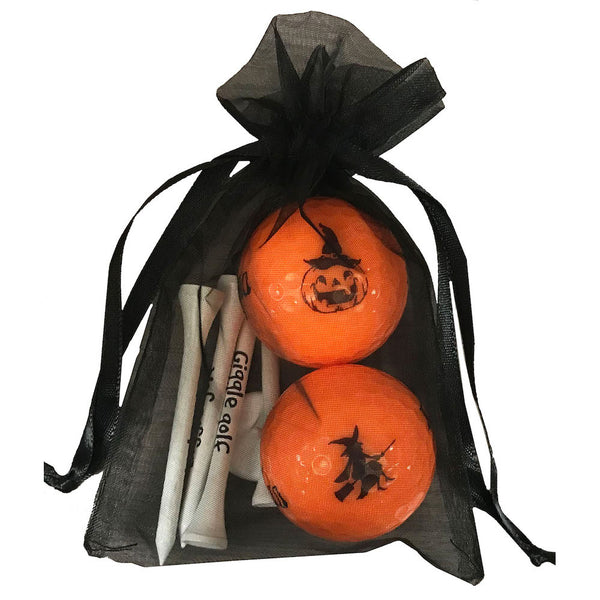 novelty orange nike mojo with halloween designs and wooden golf tees