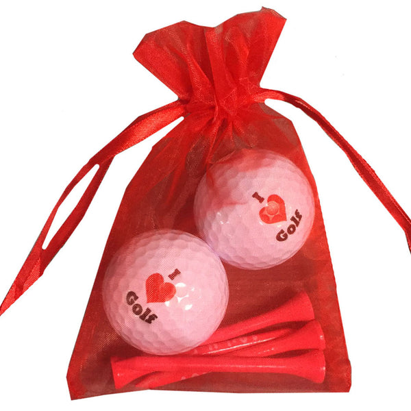 i love golf balls with red i love golf wooden tees