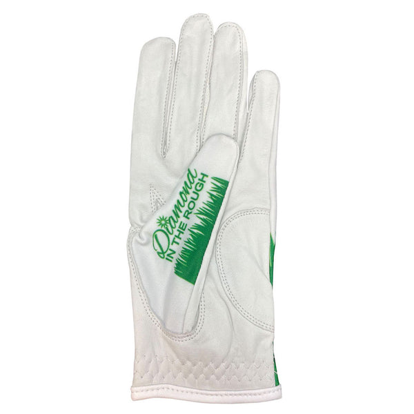 women's white golf glove with diamond in the rough design