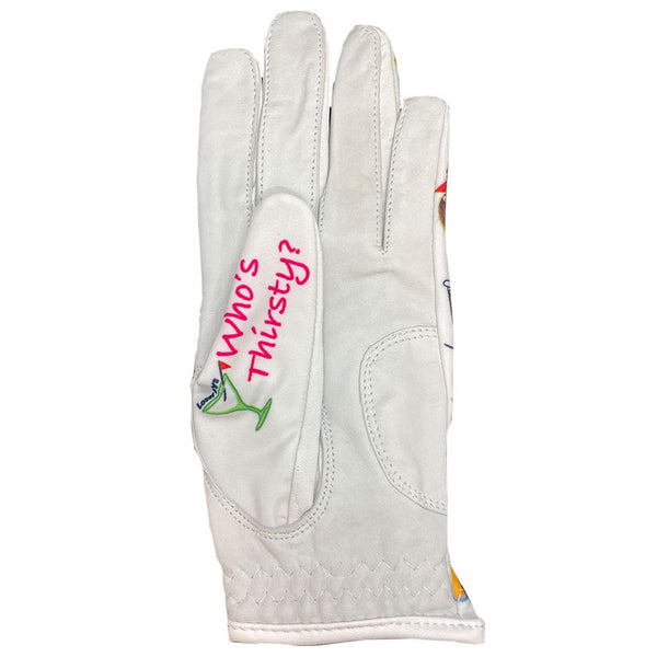drink up bitches women's golf glove with who's thirsty thumb design