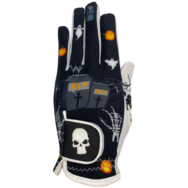 new halloween women's golf glove with tombstones, ghost, and skeletons