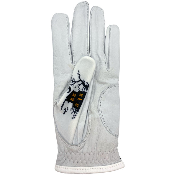 new halloween women's golf glove with hanuted house design on thumb