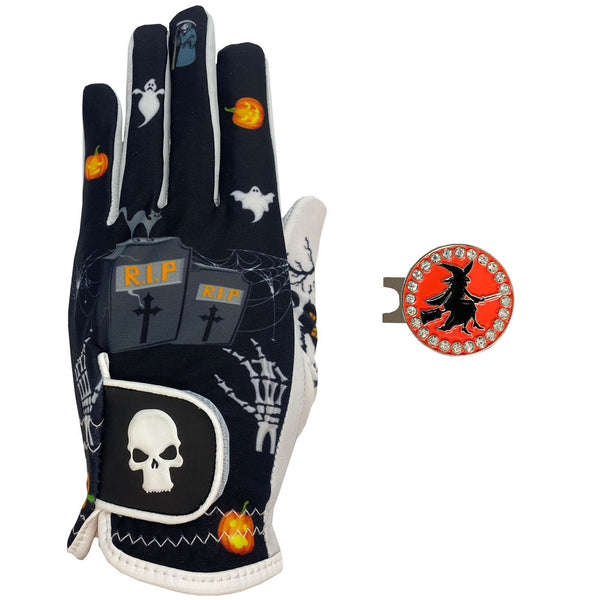 new halloween women's golf glove with witch ball marker