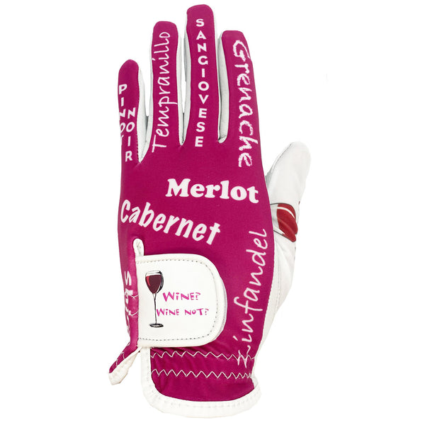 new red wine women's golf glove wine? wine not?