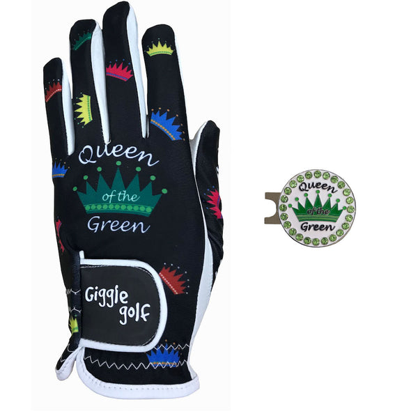 queen of the green women's golf glove with green crown ball marker