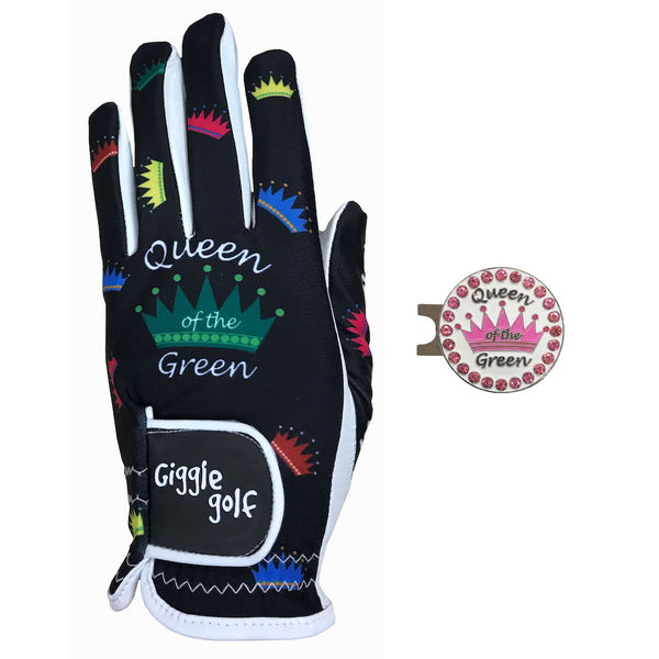queen of the green women's golf glove with pink crown ball marker