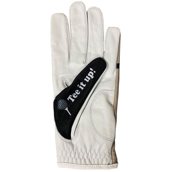 roll out women's golf glove with tee it up on the thumb