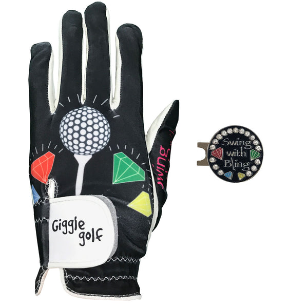 swing with bling women's golf glove with black ball marker