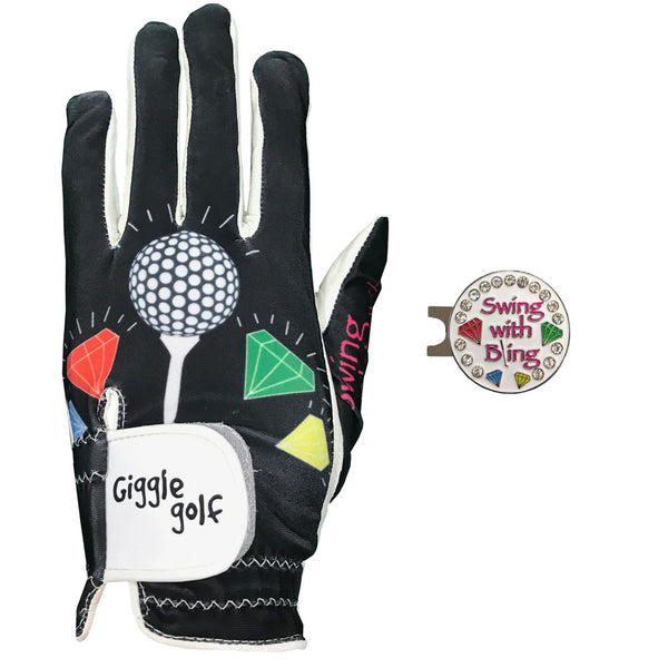 swing with bling women's golf glove with white ball marker