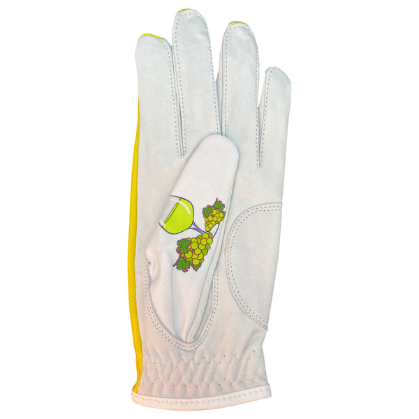 women's leather golf glove white wine worn on left hand