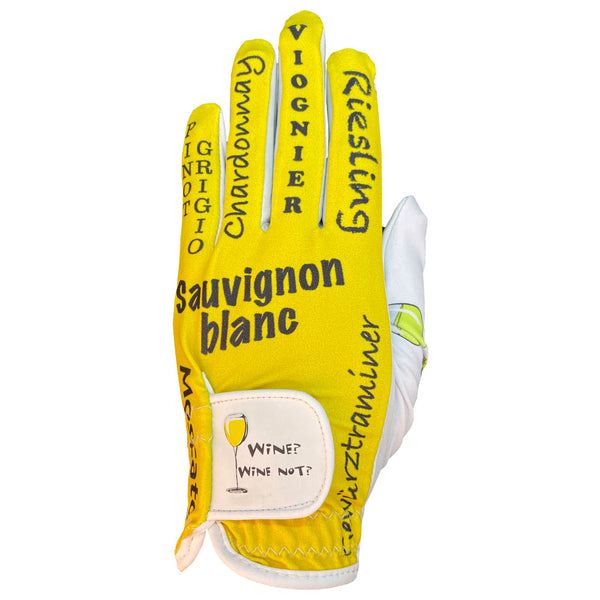 women's golf glove white wine worn on left hand