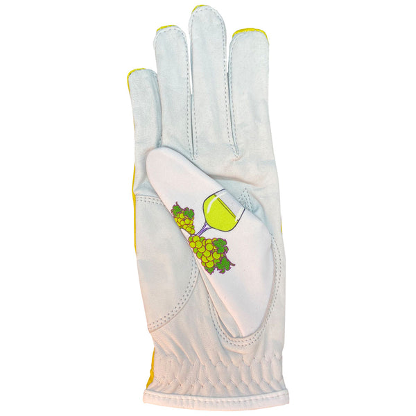 women's leather golf glove white wine worn on right hand
