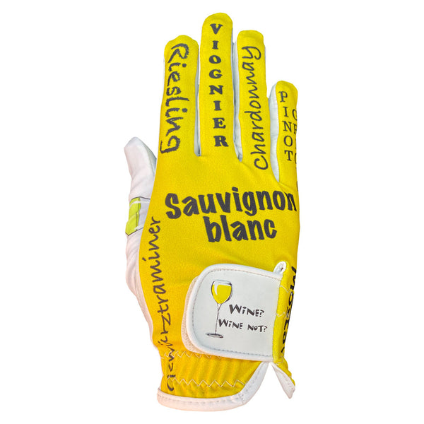women's golf glove white wine worn on right hand