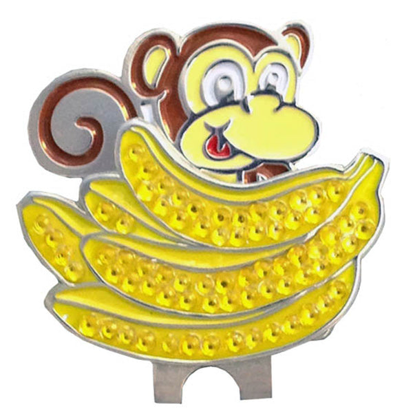 bling bananas golf ball marker on a magnetic monkey shaped hat clip